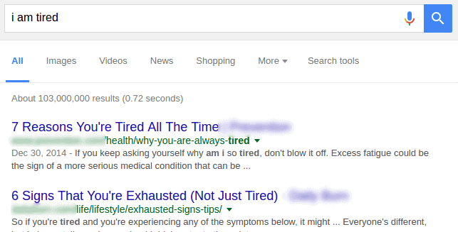 Google fatigue search: I am tired