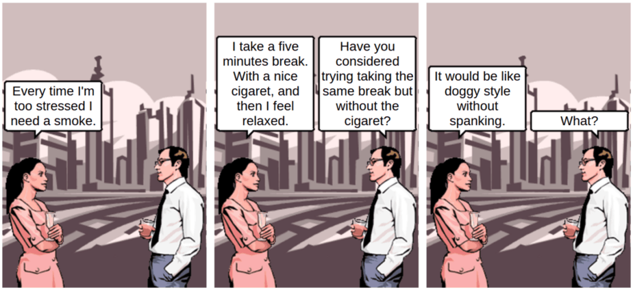 Stress and cigaret - comic