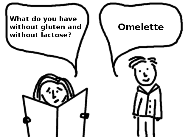 gluten, egg and dairy intolerant at the restaurant - comic