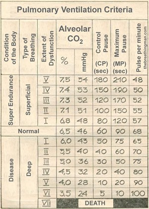 table of buteyko: pulmonary ventilation criteria
