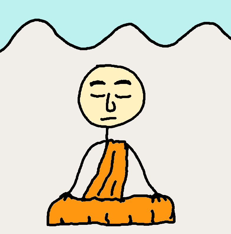 monk breathing meditation mountains - comic
