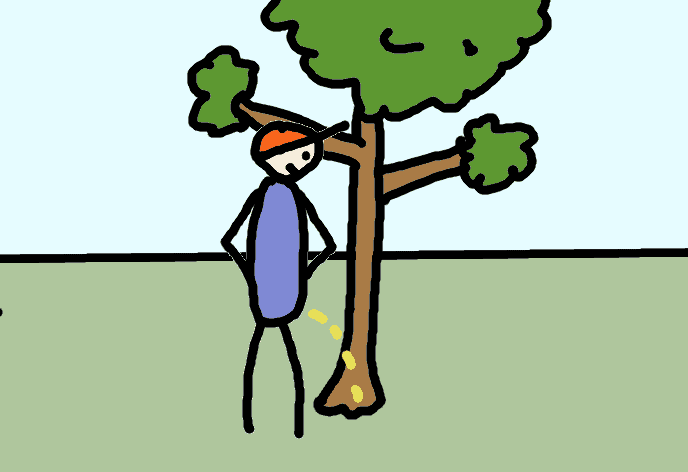 pissing against a tree - comic