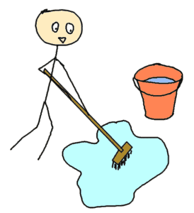 cleaning with a seal and a broom - comic